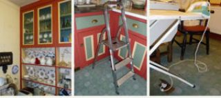 3 pictures of kitchens used in the study. One shows a china cabinet, the next a step ladder and the third an ironing board