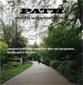 Newsletter front cover showing a wide pathway with trees and shrubs on either side.