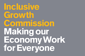 Logo for the inclusive growth commission. Grey background with yellow and white text