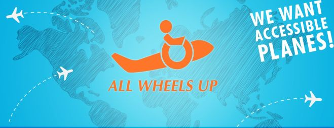 Website header for All Wheels Up - mid blue background with orange graphic of a plane with a wheelchair symbol and the words in white, we want accessible planes