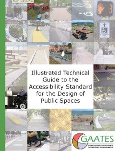 Cover of the Guide with lots of little pictures of place in small squares like a chequerboard. Design guide for accessible public spaces.