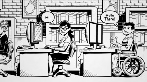 Cartoon drawing of a woman and a man sitting at desks in an office. The man is sitting in a wheelchair and the woman has a screen magnifier on her computer screen