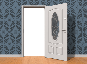Drawing of a grey interior door opened in a room with dark grey wallpaper. The doorway is a white blank indicating you can't pass through