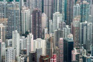 Aerial view of high rise buildings in Hong Kong