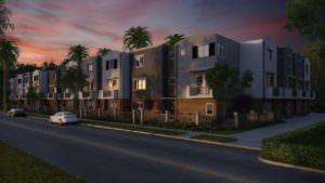 street scene at twilight with modern medium density apartments