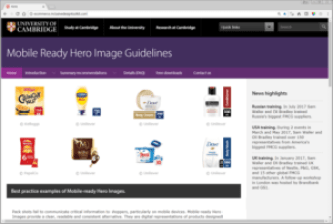 A screenshot of the webpage for Mobile Ready Hero Image Guidelines. The title banner is purple with white text. There are 8 product pack shorts in the frame and some explanatory text on the righthand side