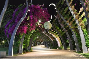 A large arched walkway at night with purple bougainvillea flowers overhead. The pathway is well lit but has the line shadows of the arches across it.