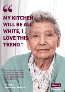 A picture of an older woman with the words: My kitchen will be all white. I love this trend. Followed by, That what she said when chose her home decor. Now her mother can't find the light switches.