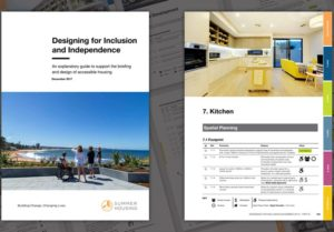 Front cover of the guidelines showing three people standing and one in a wheelchair looking out over a beach scene