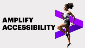 front cover with black upper case title, amplify accessibility with a purple V shape on its side and a young woman in sports gear running