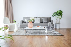 Open plan room with grey couch and low white coffee table on a polished wood floor with rug