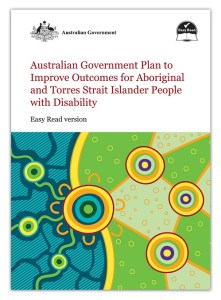 Front cover of the document. The title is in red text and the graphic is a stylised Aboriginal dot picture in greens and yellows