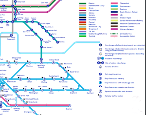 Bottom right hand corner of the tube map showing the legend of all the different level of access