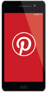 A picture of a mobile phone with a red screen showing a white Pinterest logo