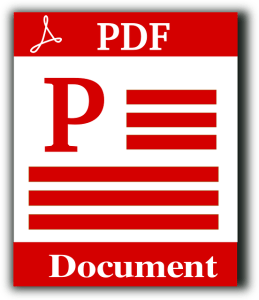 graphic of a page with PDF on it red and white