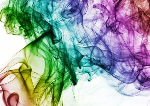 smoke swirls of rainbow colours