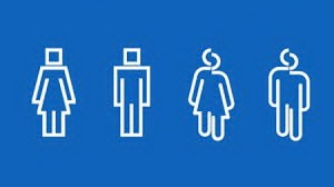 four white figures on a blue background showing a man and woman with a square head and a man and a woman with a misshapen head
