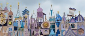 a Disney type street facade with imaginative designs that look appealing to children