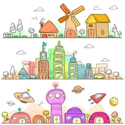 graphic showing hand drawn and coloured buildings in a child-like format.