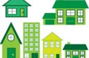 A graphic in shades of green showing various types of dwellings