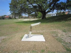 A drinking fountain sits on a small concrete apron in the middle of the grass