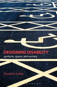 book cover for Designing Disability shows painted floor markings with the international symbol for access.