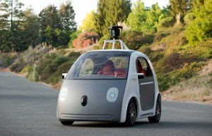 Self driving vehicle on the road.