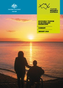 Front cover of the inclusive tourism report. Two people are watching a sunset over the ocean. One is sitting in a wheelchair.