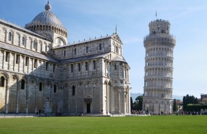 Basilica tower at Pisa, Italy. It shows the lean to the right compared to the Basilica building.