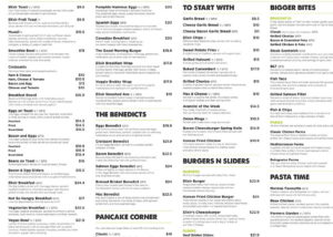 Part of a cafe menu with small light font.