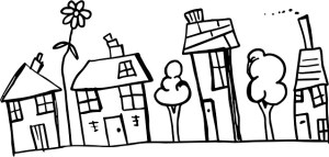 A child-like drawing of different house types.