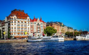 Stockholm from the water showing classic Scandinavian heritage buildings.