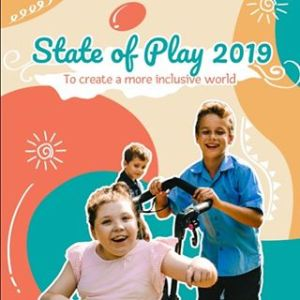 Front cover of the report showing a girl in a pink dress being pushed in a chair by a boy in a blue shirt. They are laughing.