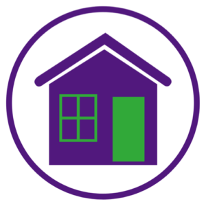 Graphic of a purple house shape with green outline for a window and a door.