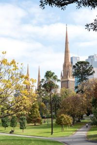 Open parkland with St Patrick's Cathedral Melbourne in the background.