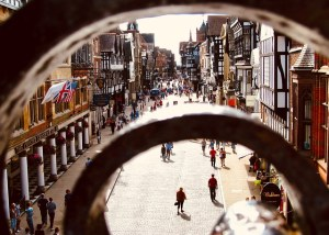 A street in medieval Chester, UK. Heritage no barrier to accessibility.