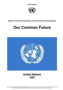 Front page of the Our Common Future document with the United Nations logo.