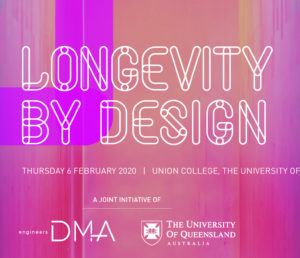 The Longevity by Design banner in pink and purple.