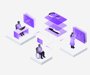 A graphic in purple indicating levels of design. There is a graphic of someone at a desk and other using a wheelchair.