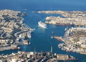 An aerial view of Grand Harbour Malta showing the many bays and dense population.