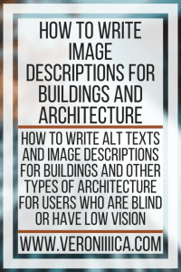 A word poster in upper case with the heading of the blog post: How to write image descriptions for buildings and architecture.