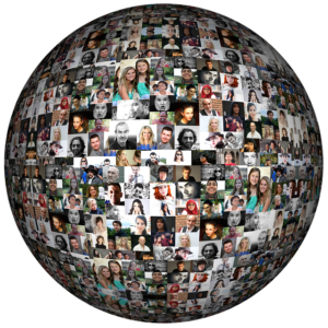 A montage in the shape of the world, captuing the diversity of humans.
