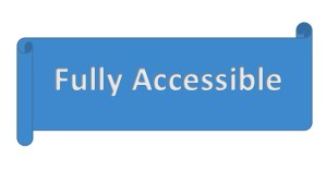 A blue banner with the words in white, Fully Accessible.