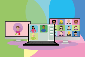 A colourful illustration depicting a webinar on desktop and laptop computers.