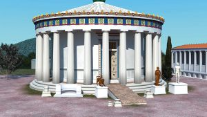 Illustration of a Greek temple reconstruction showing a ramped entrance.