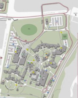 A university campus map showing buildings juxtaposed to each other with no semblance of order.