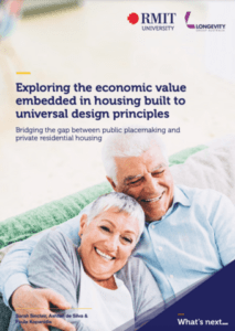 Front cover of the report showing an older grey-haired couple sitting together smiling. Title is exploring the economic value in housing built to universal design principles.