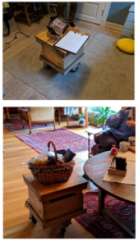 Two pictures showing a small wooden table on wheels. One has a notepad on it, the other has a craft basket on it.