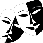 A graphic of the theatre masks of comedy and tragedy.