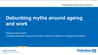 Blue background with white text. Title slide from Taylor's presentation about ageing, attitudes and stereotypes.
